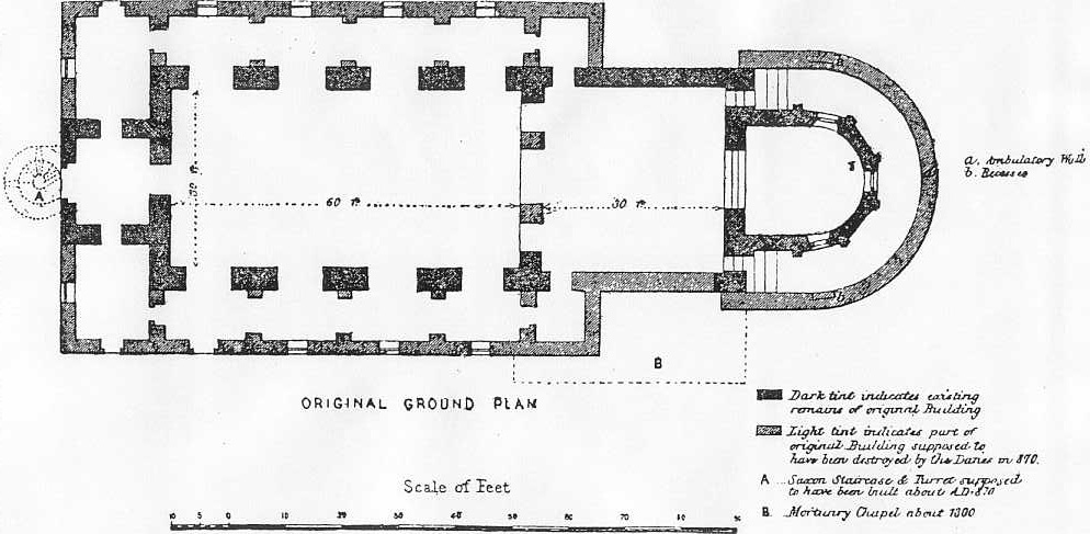 1867-drawn ground plan of All Saints Brixworth
