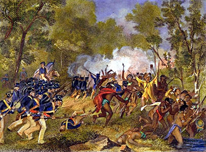 Battle of Tippecanoe. 19th century depiction o...