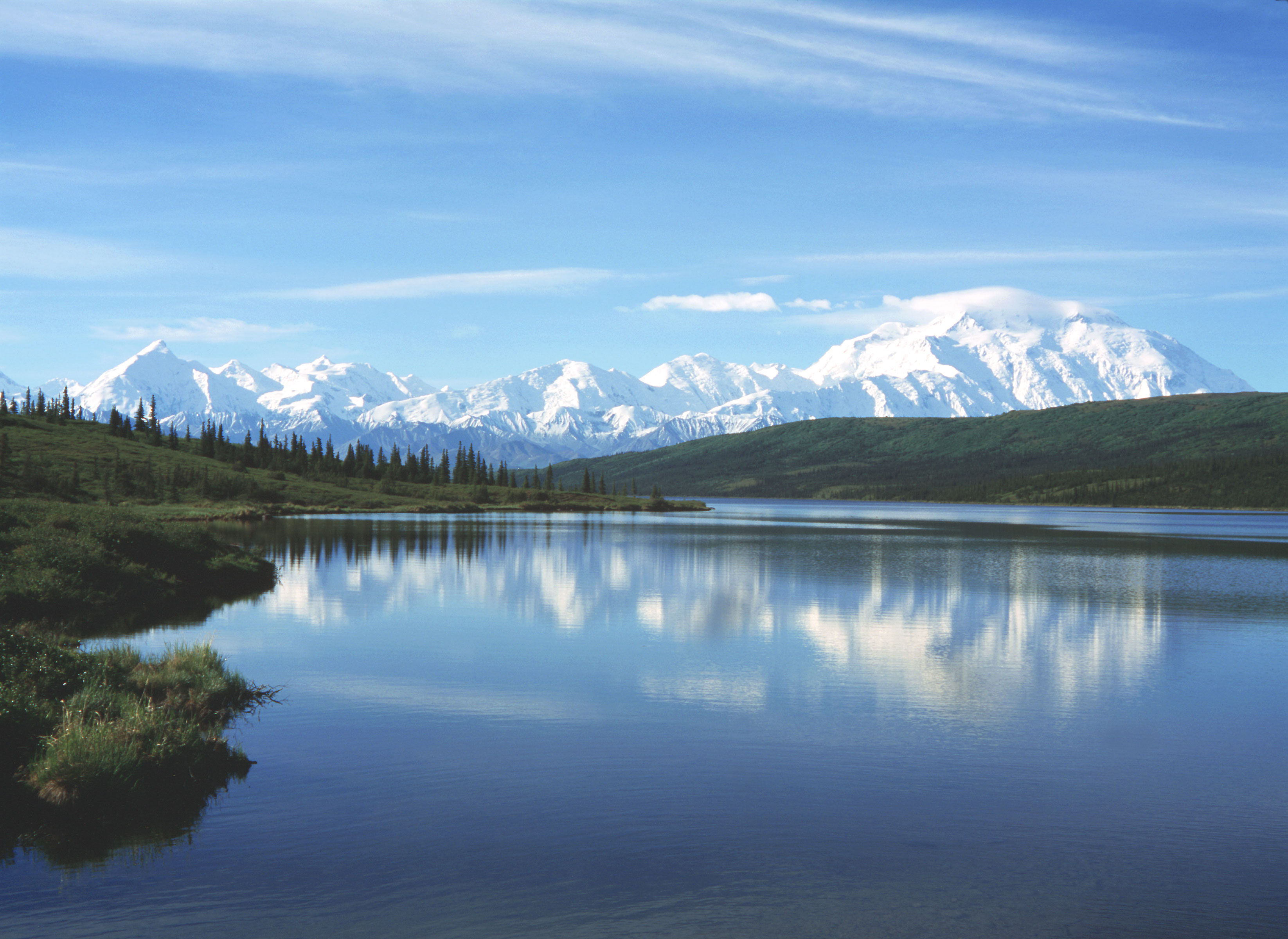 Mt McKinley and Wonder Lake viewed from Denali NP access road.