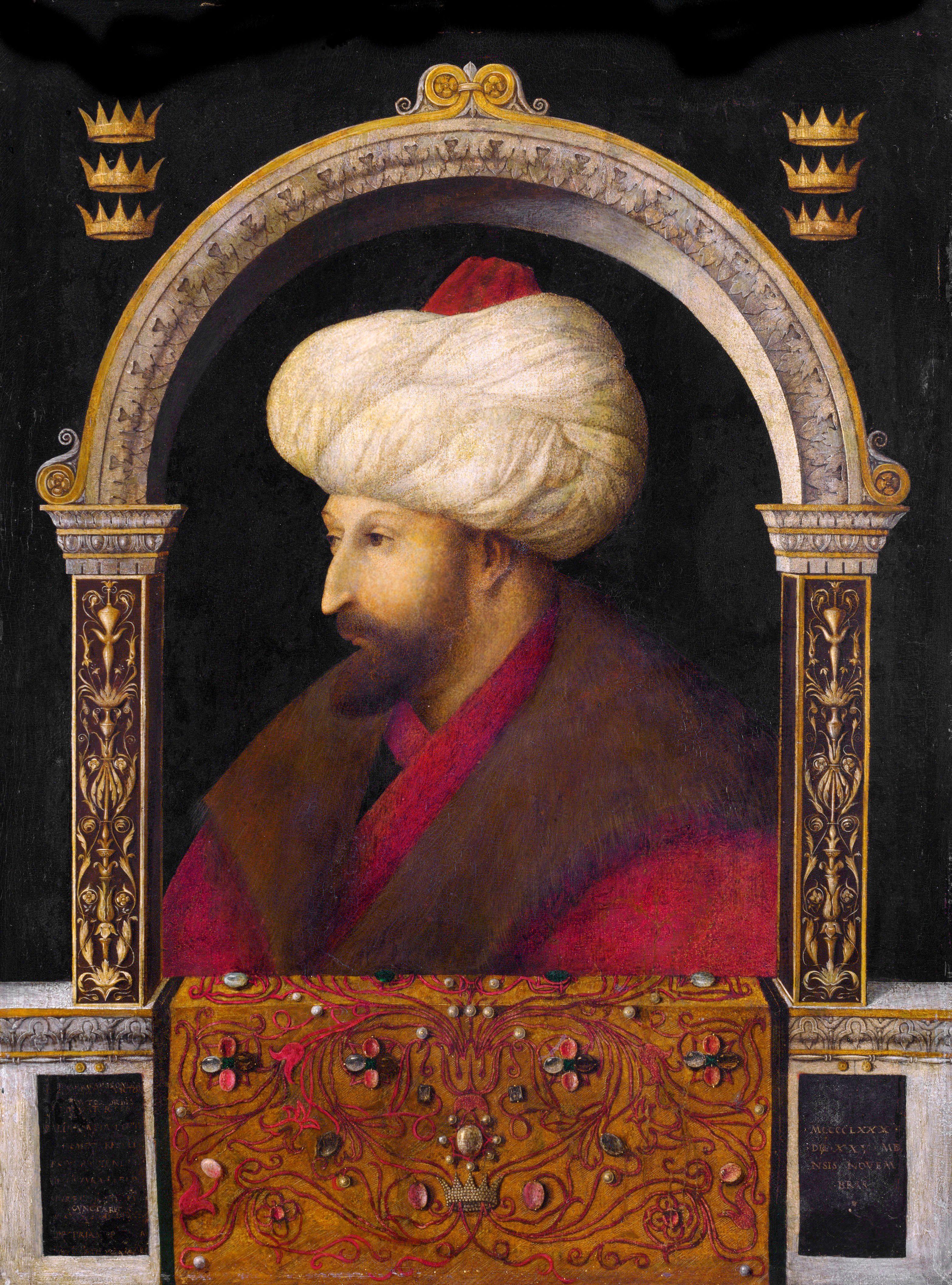 Portrait of Mehmed II by Venetian artist Gentile Bellini.