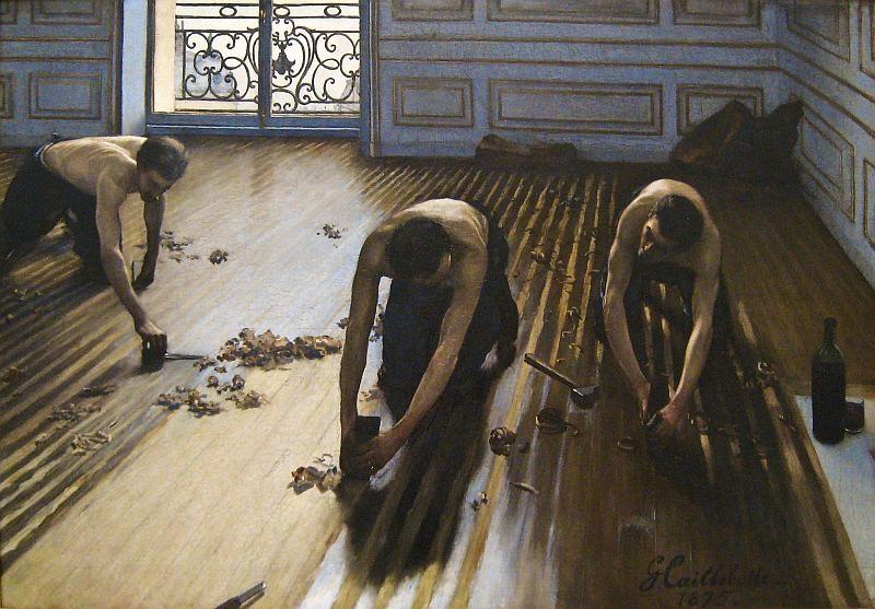 Les raboteurs de parquet von Gustave Caillebotte 1875, public domain