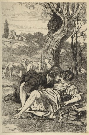 Etching of a Reneissance-era man and woman laying in a field, kissing and touching each other