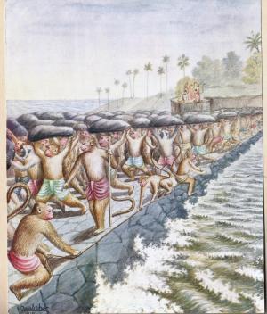 Monkey people building Rama's bridge