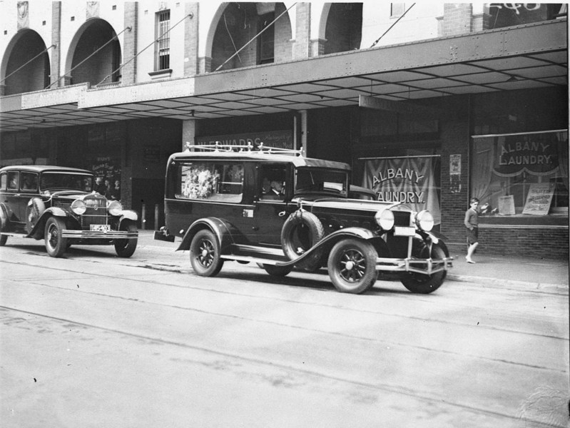 1964 austin cars » File SLNSW 43247 Funeral cars at Motor Funerals Parlour in George     File SLNSW 43247 Funeral cars at Motor Funerals Parlour in George Street jpg
