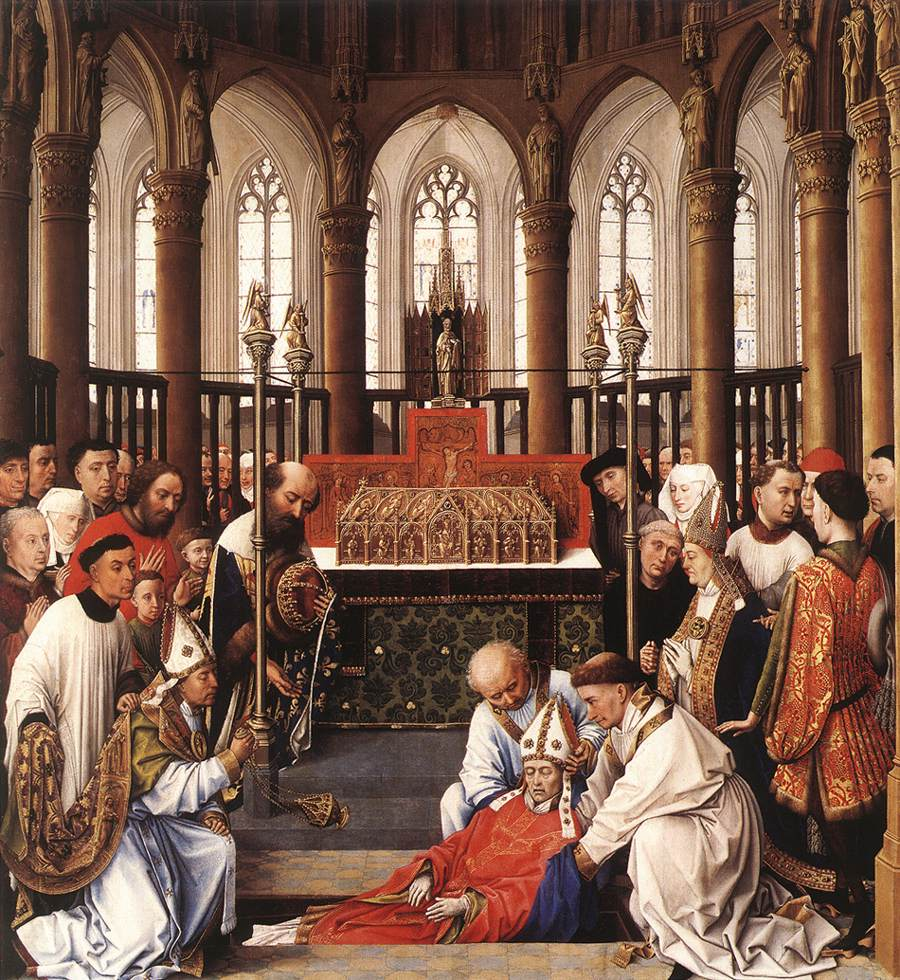 The Exhumation of St. Hubert by Rogier van der Weydan; taken from Wikipedia.  Click the image for more great art.