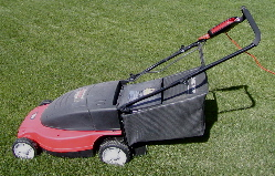 Electric rotary lawn mower, with rear grass ca...