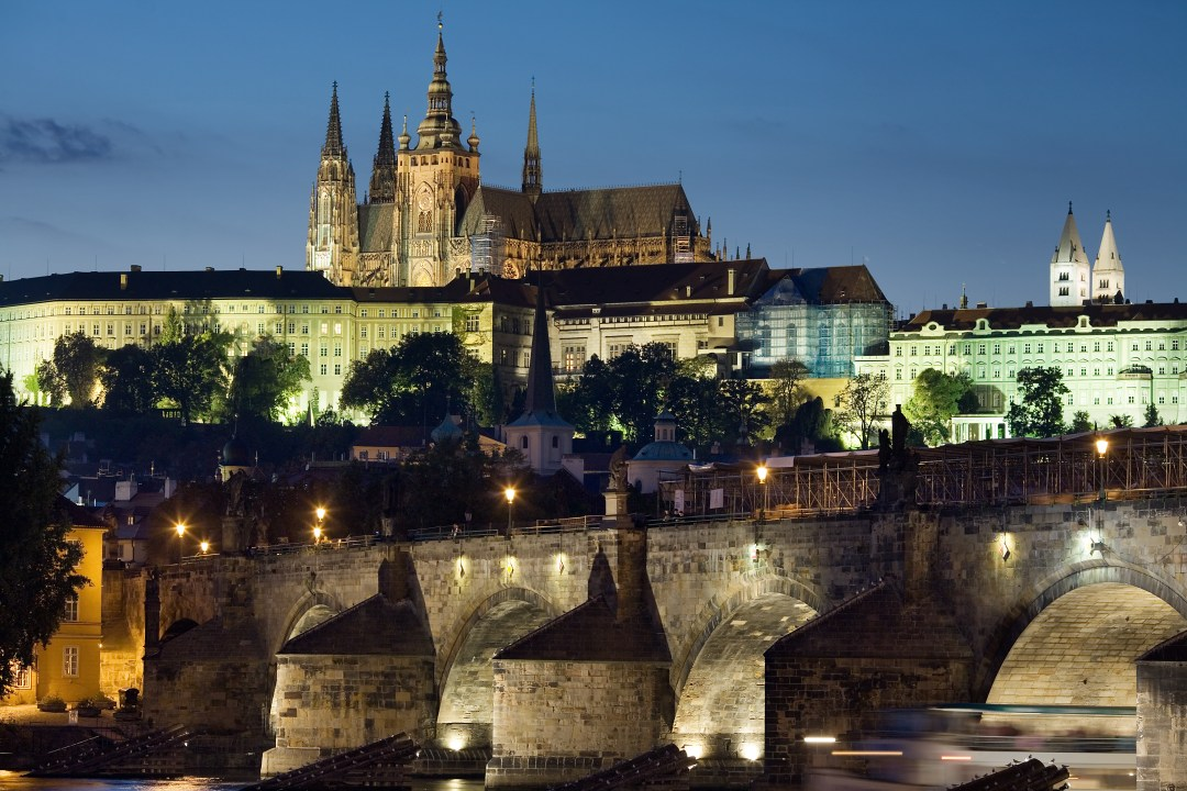 Prague at night looking at Charles bridge which is over 400 years old.