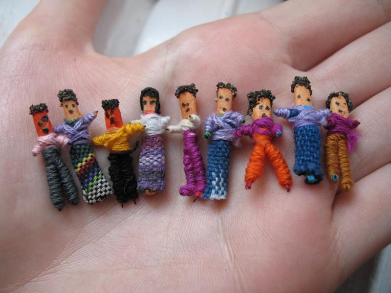 An assortment of Guatemalan worry dolls made f...