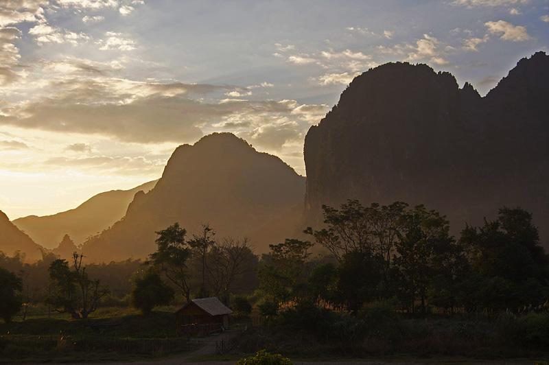 Limestone cliffs at sunset in Vang Vieng, Laos