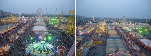Vista general desde la noria a distinta altura de las atracciones que se pueden disfrutar en la Calle del Infierno