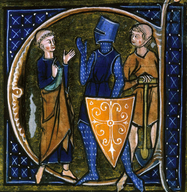 Medieval French manuscript illustration of the three classes of medieval society: those who prayed—the clergy, those who fought—the knights, and those who worked—the peasantry.