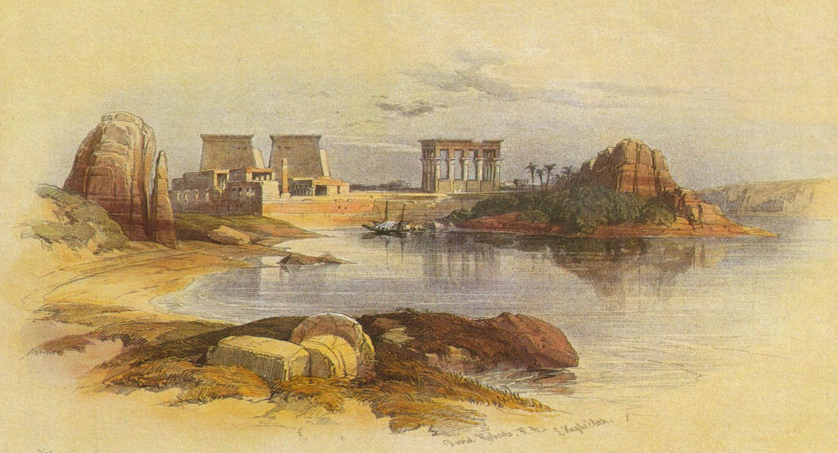 David Roberts, Temple of Isis at Philae, closed by Theodosius I