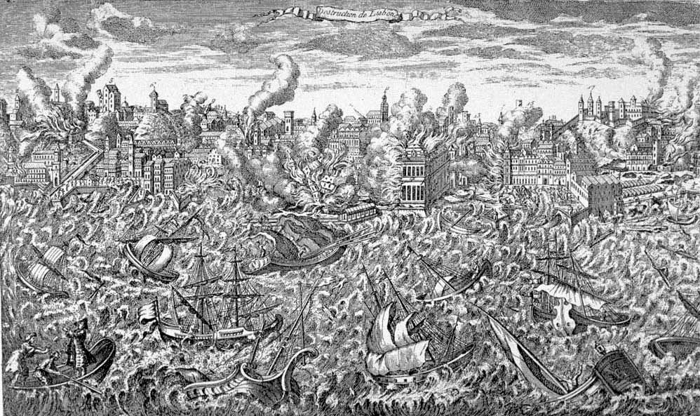 1755 copper engraving showing Lisbon in flames...