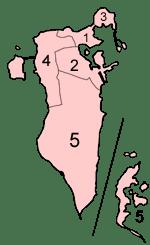 Peta menunjukkan wilayah-wilayah administrasi di Bahrain