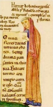Herrad of Landsberg Selfportrait from Hortus deliciarum, ca. 1180. (Image from Wikipedia)