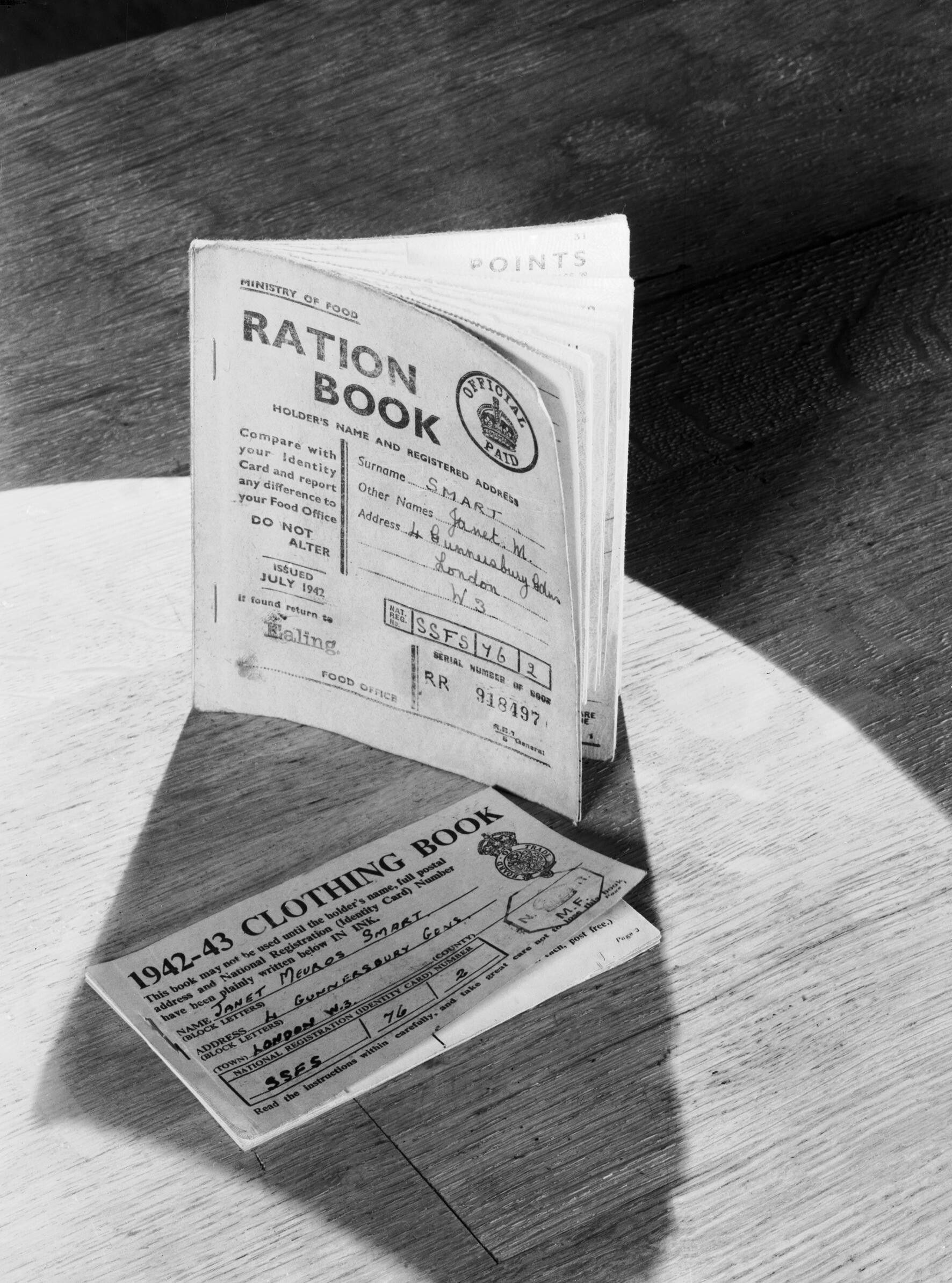 File A Ration Book And Clothing Coupon Book As Issued To