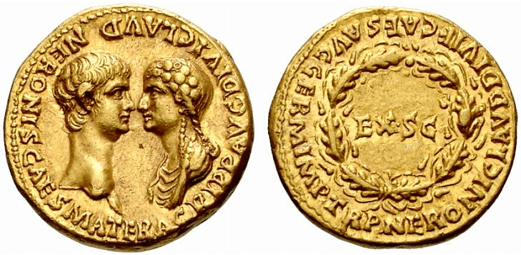 An Aureus of Nero and his mother, Agrippina.