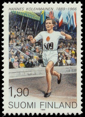 Postage stamp depicting a famous Finnish long-...