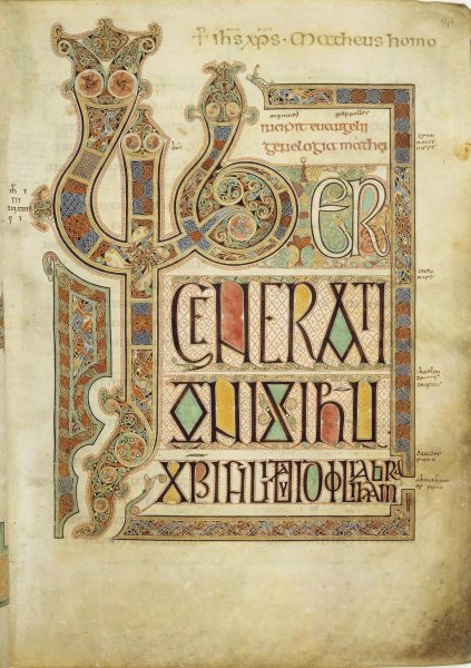 Book of Kells   Wikipedia Compare this page with the corresponding page from the Book of Kells  see  here   especially the