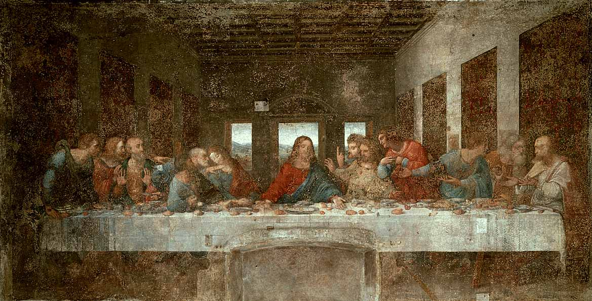 English: The Last Supper, showing Jesus, at th...