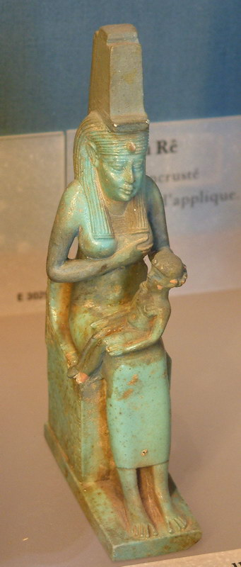 A statue of Isis nursing her son, housed in th...