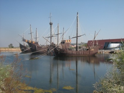 Replicas of the Pinta, Niña and Santa Maria docked in Palos de la Frontera, Spain