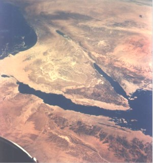 The Sinai peninsula and the present day Israel...
