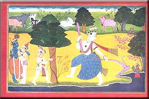 Basohli painting of The Diversion of the Jamuna.