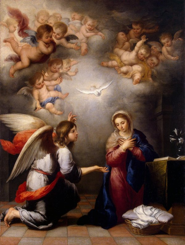 Angel Gabriel's Annunciation to Mary, by Murillo, c. 1655