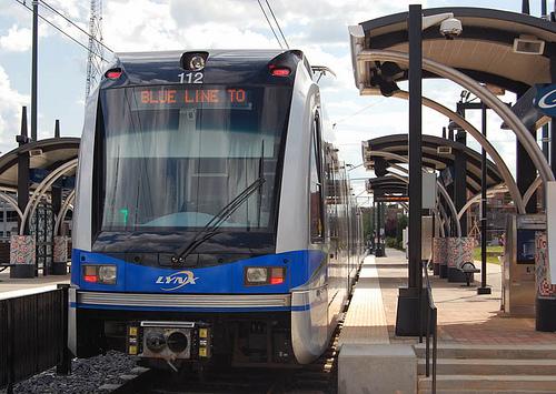 Charlotte Blue line transit car and station.