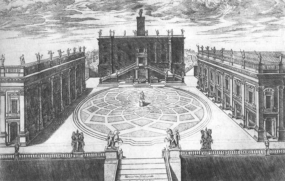 Stich der Piazza del Campidoglio von Étienne Dupérac, 1568; Quelle: wikipedia