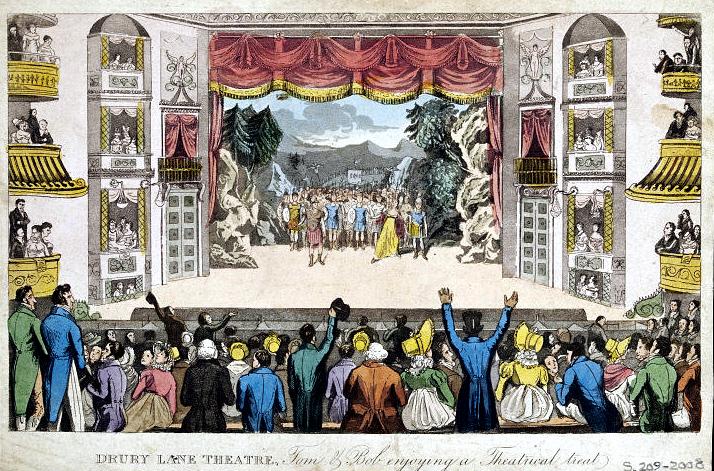 Cruikshank Pierce' Egan's Real Life - Drury Lane Theatre 1821.jpg