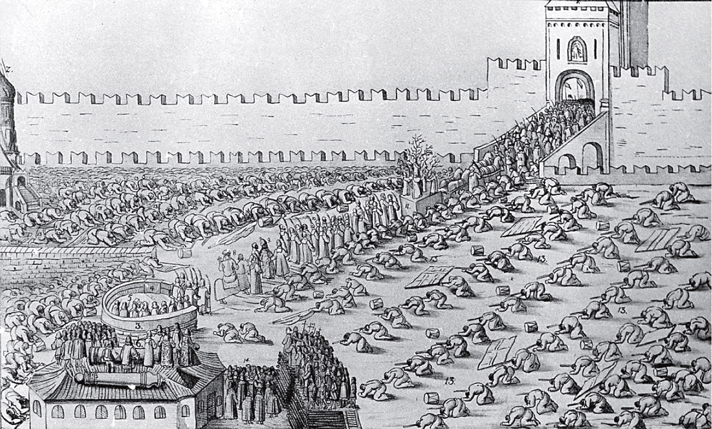 "Picture from the album Meyyerberha ""Celebration of Palm Sunday in Moscow's what happened 1654."" The figure clearly visible Moscow musketeers, who dropped the ""Red Square"" face in the mud and did not dare to raise their heads in the direction of King Khan and the patriarch."