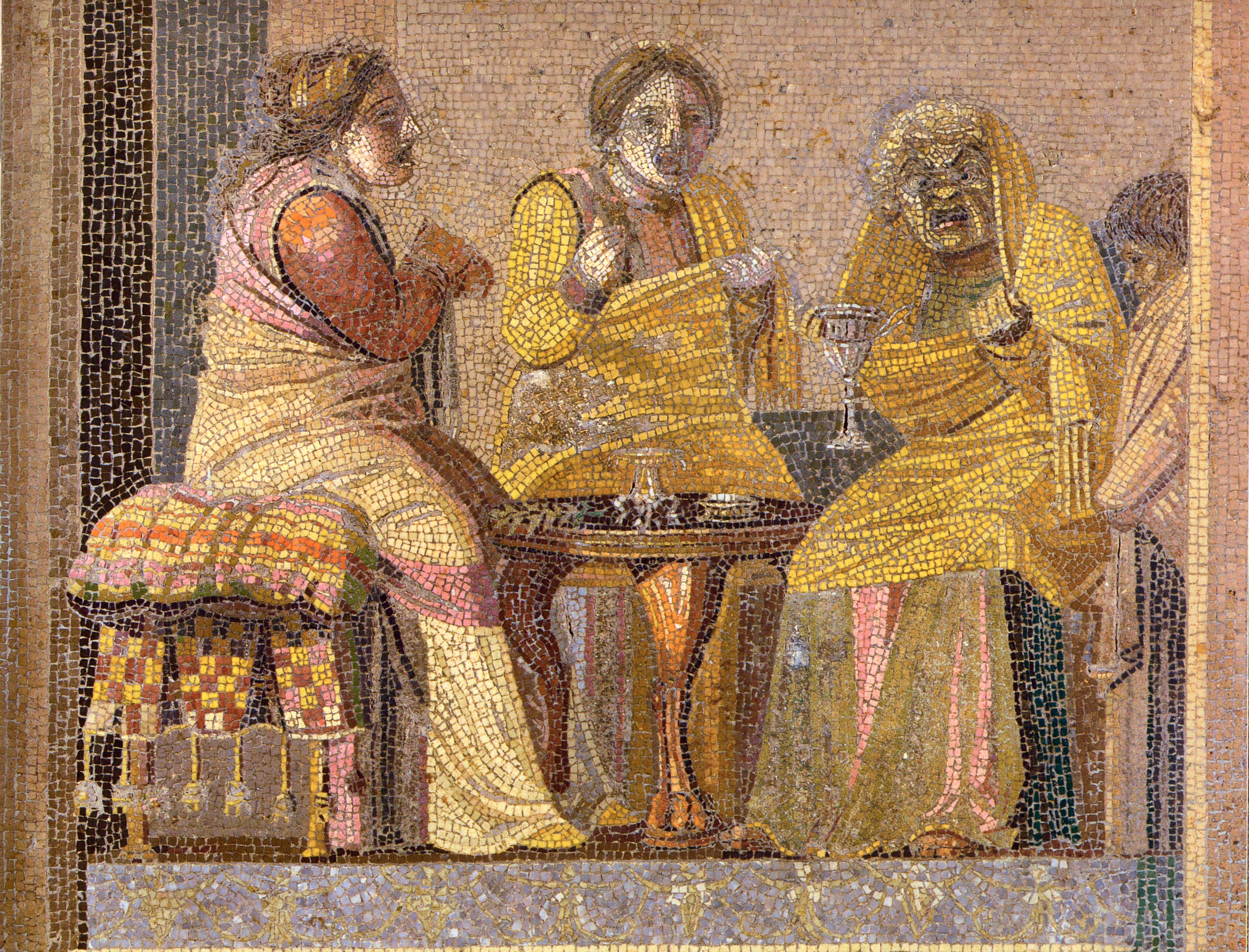 Mosaic from Pompeii depicting masked characters in a scene from a play: two women consult a witch.
