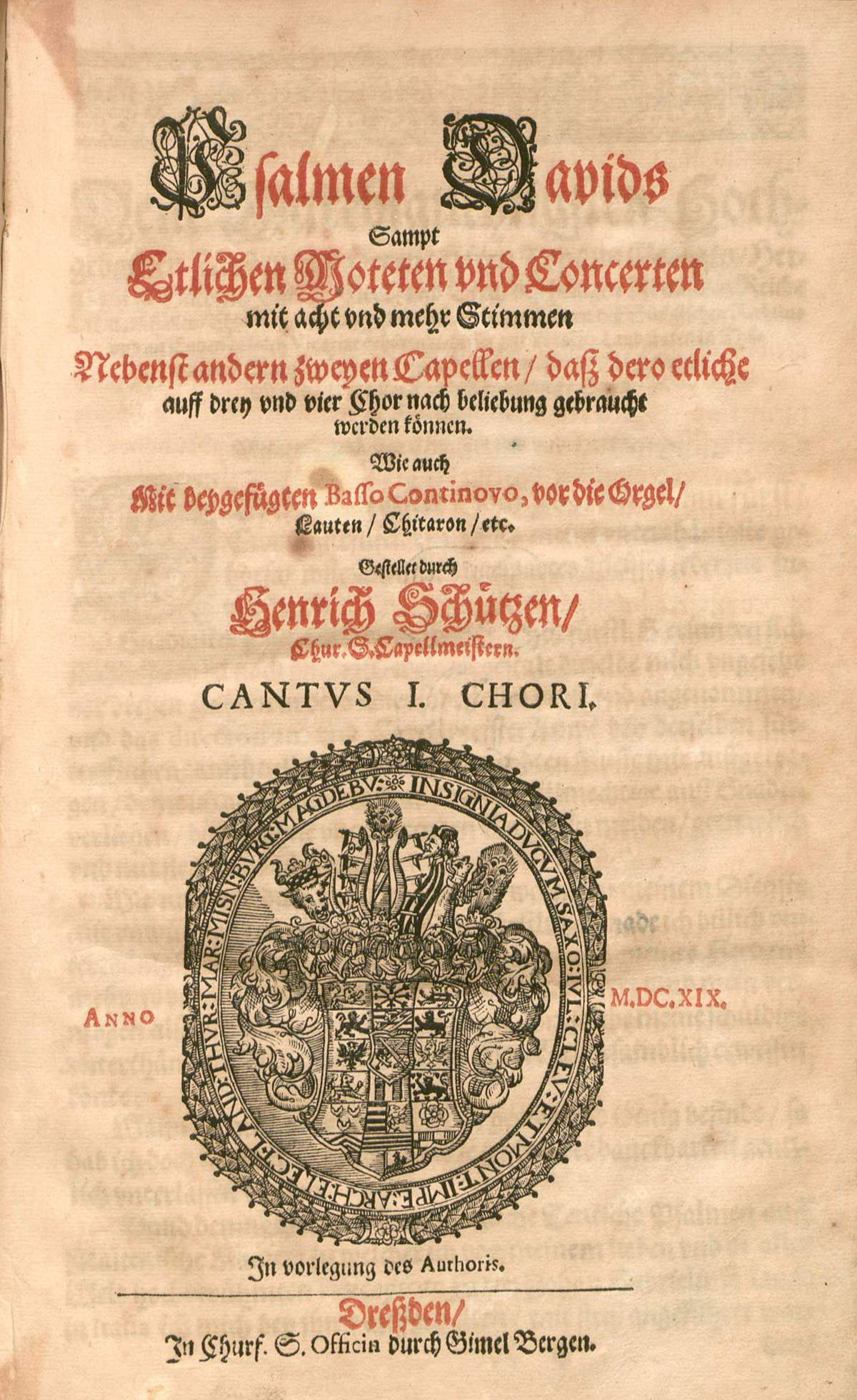The original title page of Psalmen Davids