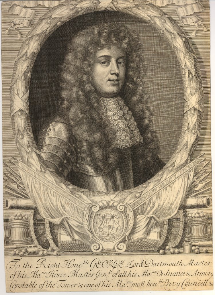 George Legge, 1st Baron Dartmouth, by the British printmaker Peter Vandrebanc. Engraving. 489 mm x 349 mm. Courtesy of the British Museum, London.
