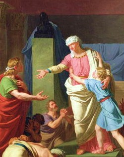 English: Benjamin embraces Joseph