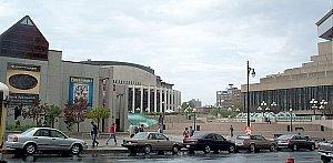 View of the Place des Arts esplanade. The Musé...