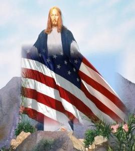 Picture of Jesus with American flag