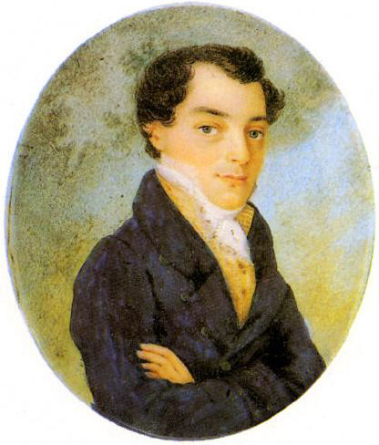 Kondraty Fyodorovich Ryleyev (1795-1926) - Decembrist, poet. Miniature by unknown artist.