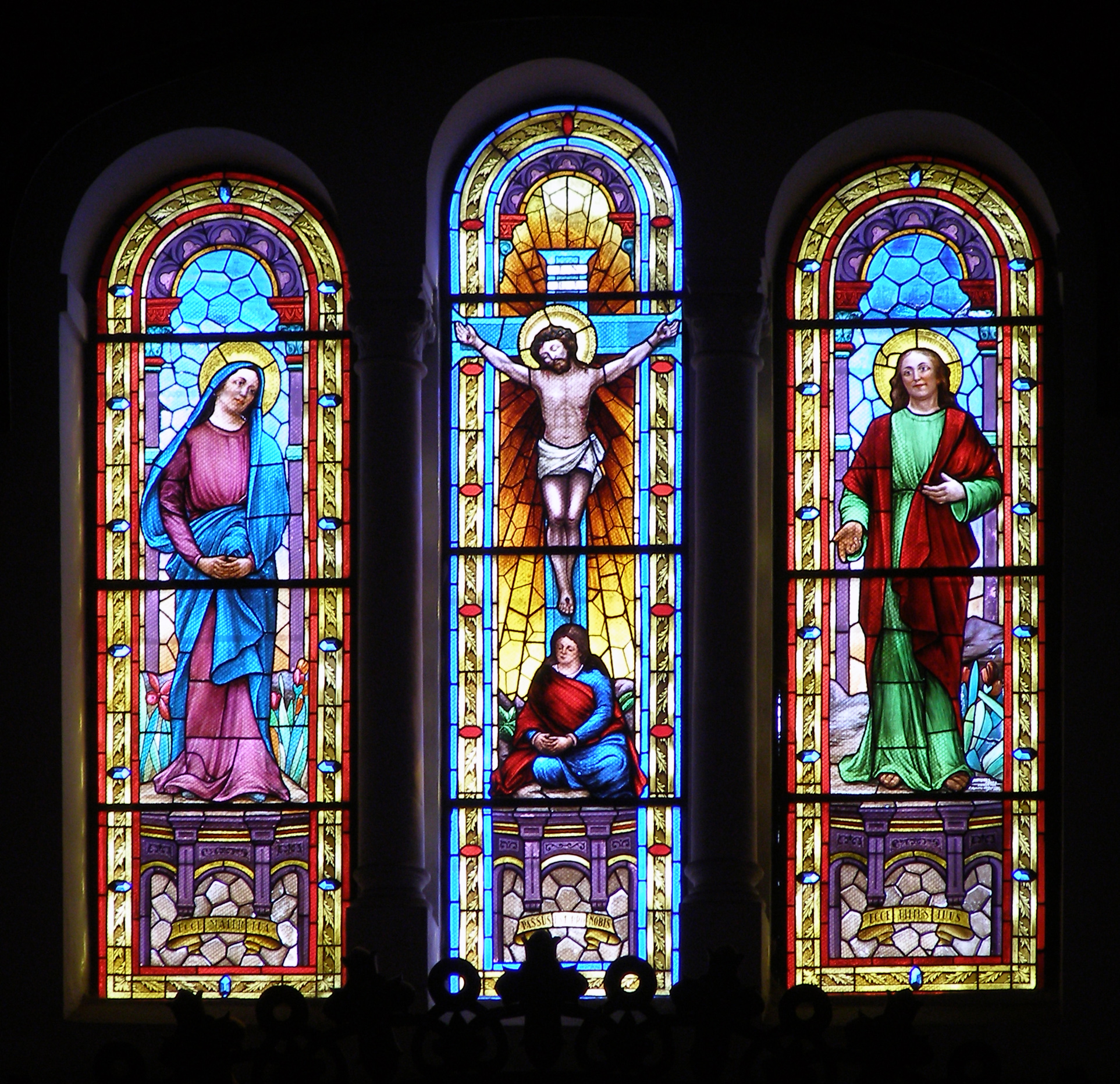 Stained glass at the Roman Catholic church of ...