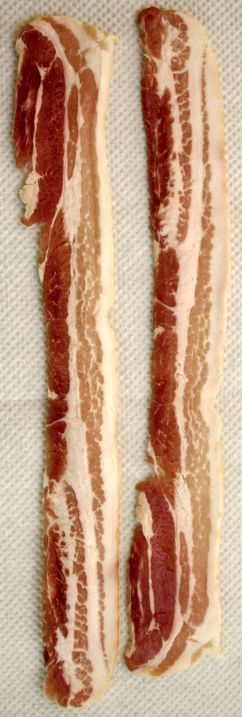 Uncooked bacon, ready to dip and fry