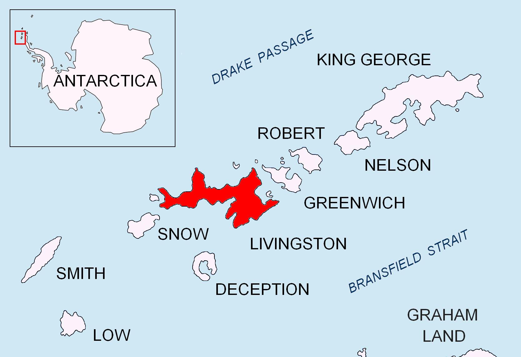 Mappa dell'isola Livingstone - Isole Shetland meridionali
