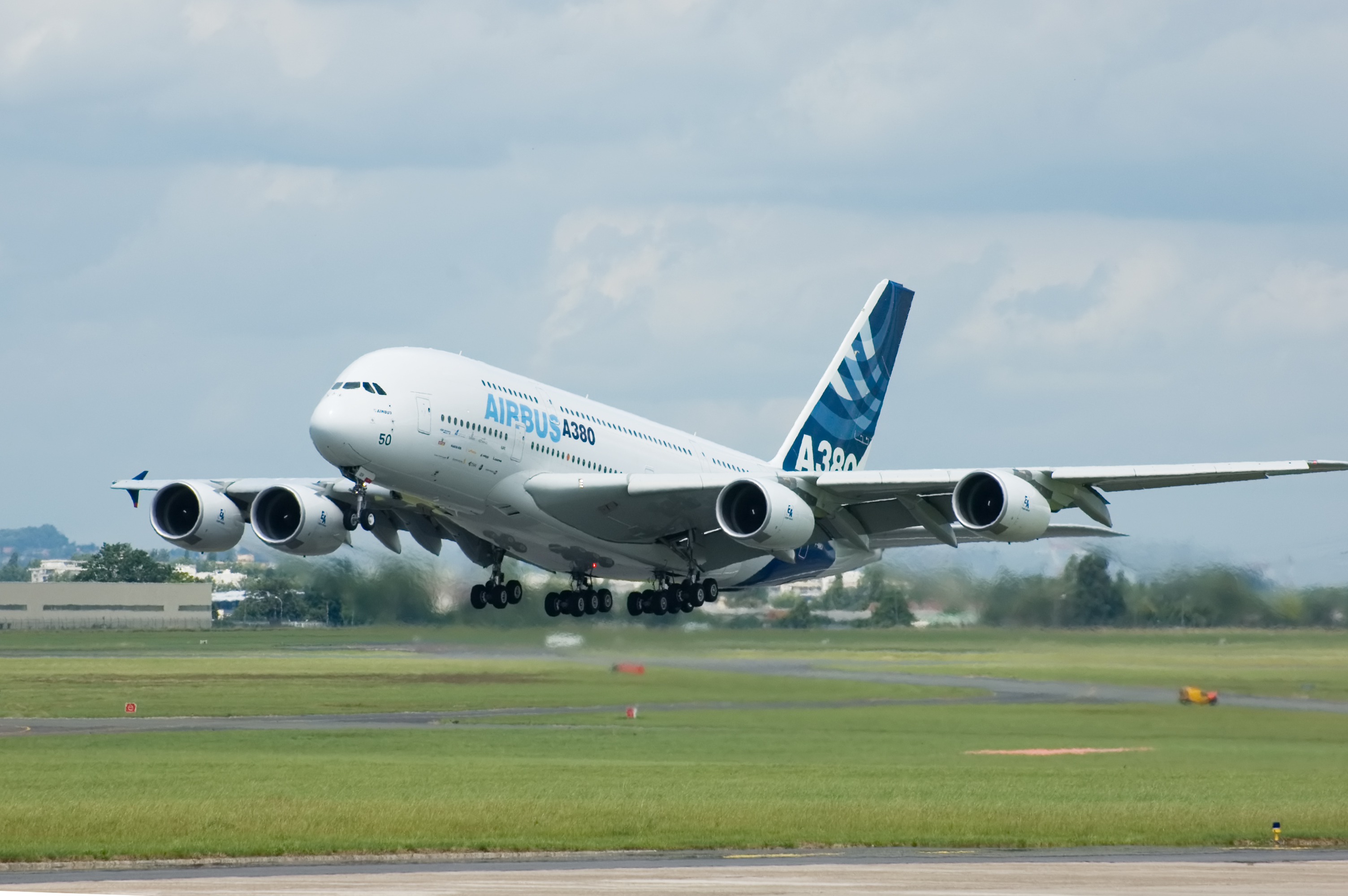 Airbus A380 taking off during Paris Air Show 2007