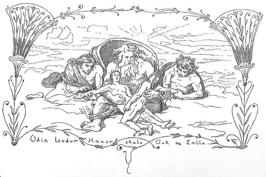 Hœnir, Lóðurr ve Óðinn Askr ve Embla'yı yaratıyor.
