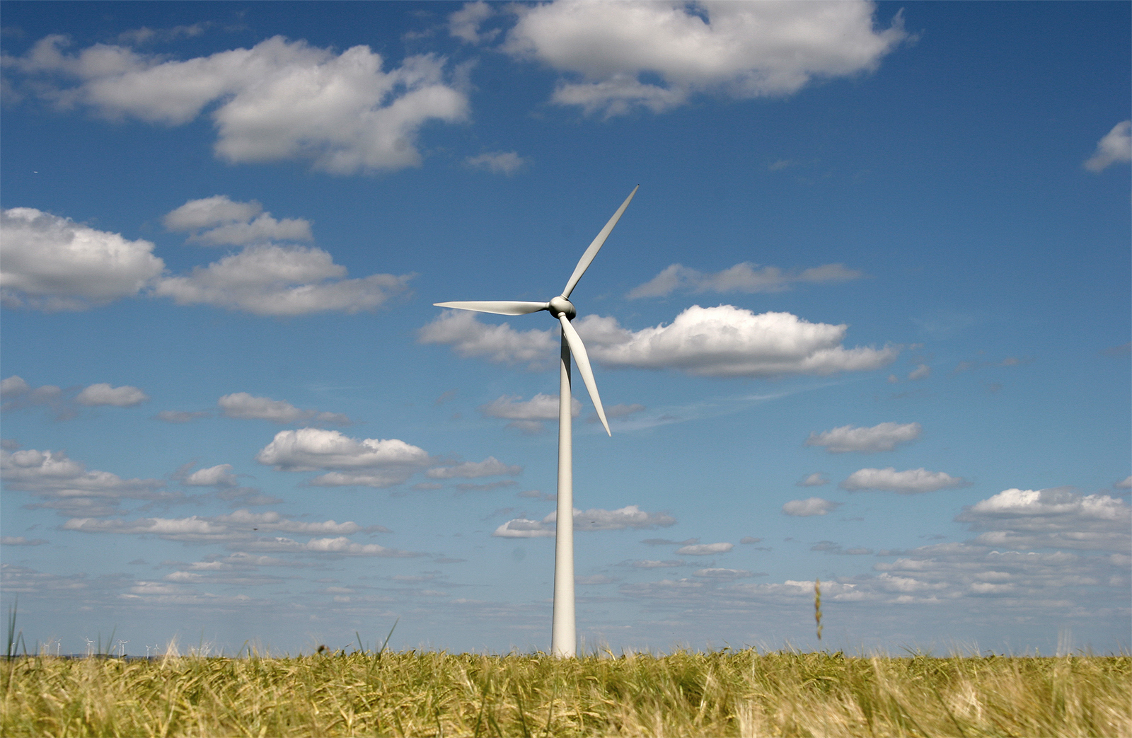 English: Modern wind energy plant in rural sce...