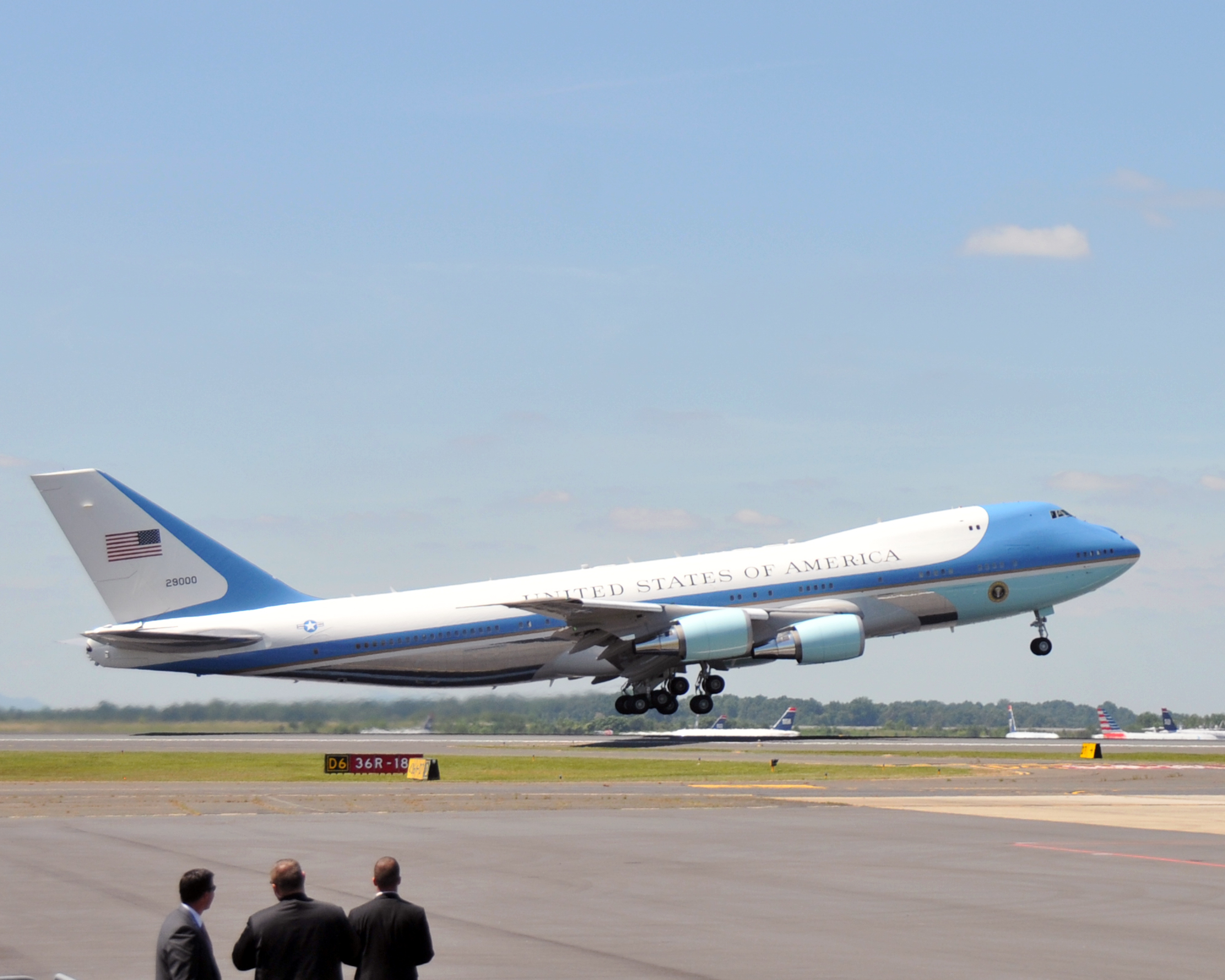 Air Force One Takes Off From The North Carolina Air National Guard Base At Charlotte