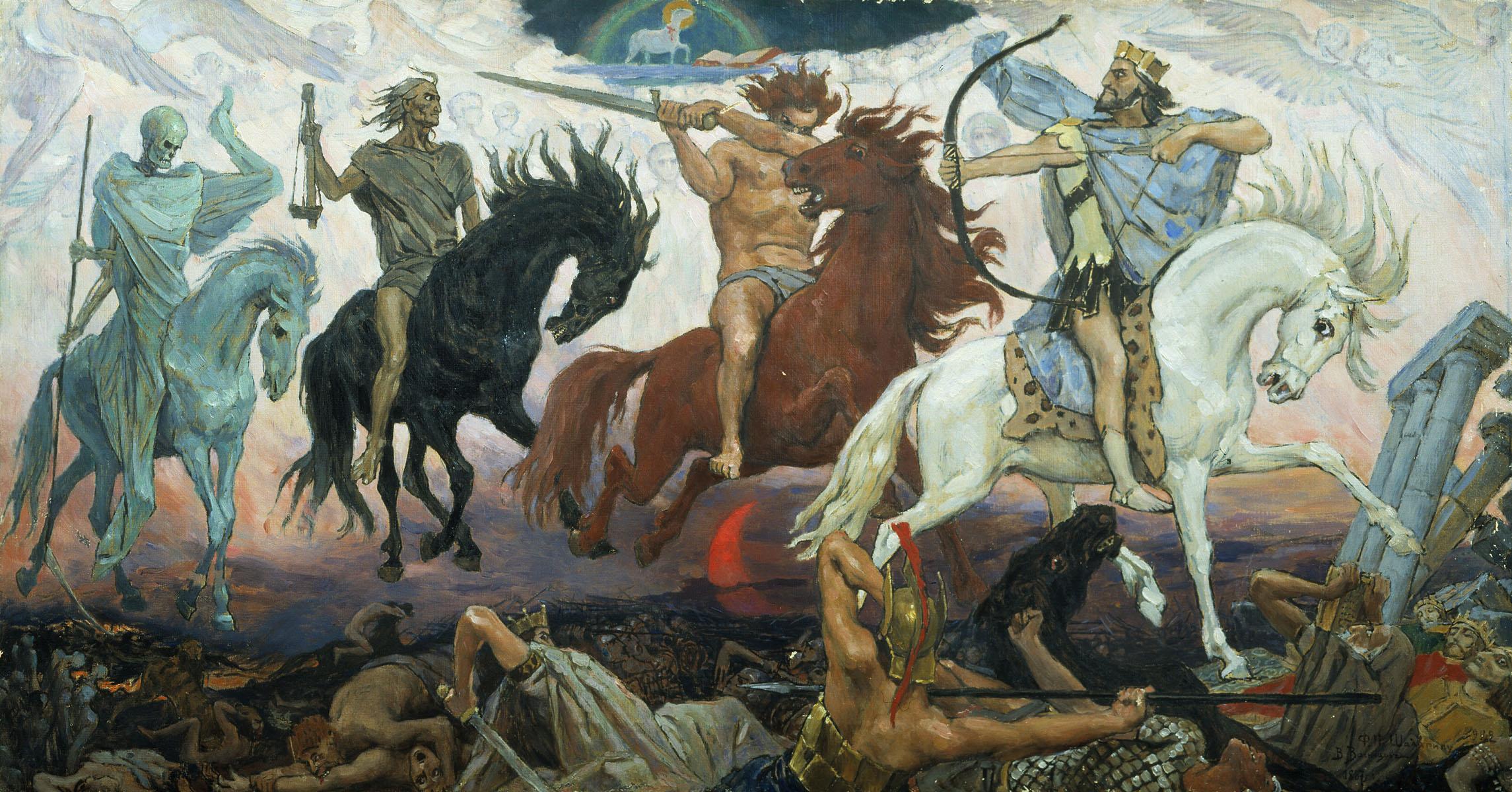 Os quatro Cavaleiros do Apocalipse, por Viktor Vasnetsov (1887).