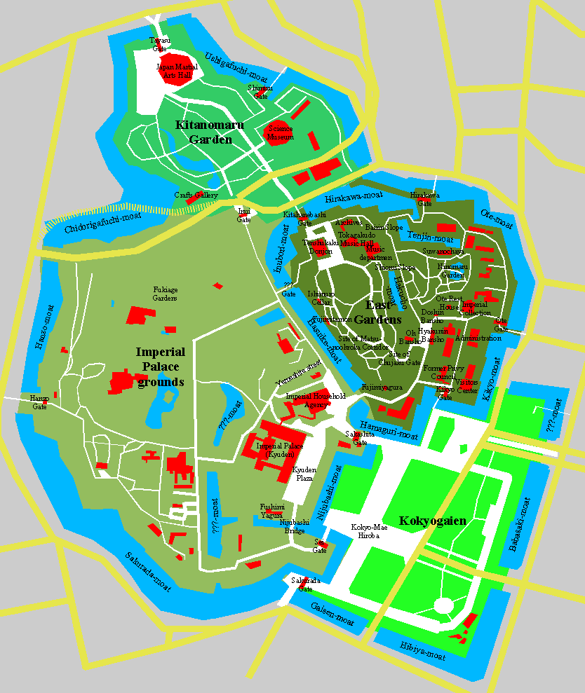 Imperial Palace Tokyo Map, photo by Chris 73.