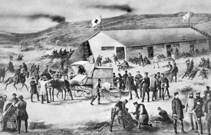 A Red Cross field infirmary near Düppel during the Second Schleswig War, 1864.